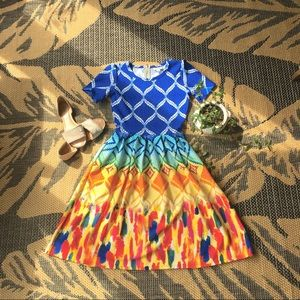 Lularoe Amelia dress, rainbow, size XS, NWOT
